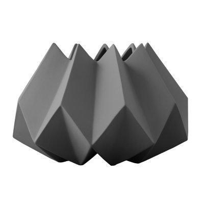 Folded vaasi S tummanharmaa